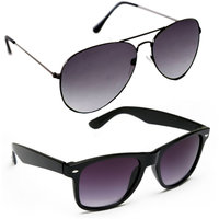 Derry Combo of Black Aviator  Black Wayfarer Sunglasses