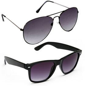Derry Combo of Black Aviator  Black Wayfarer Sunglasses
