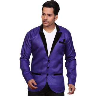 Conway Blue Party Wear Jute Blazer For Mens