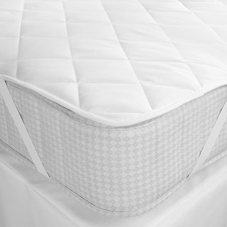 DF Mattress Protector Waterproof Dustproof Double Bed Topper Fitted Mattress Protector (Size 72x75 White)