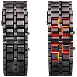 Samurai Rectangle Dial Black Metal Chain LED Digital Bracelet Watch For Men's & Boys