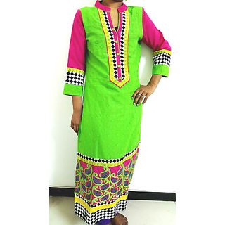 Stylist long bright Green color Kurti