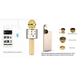 Mirza Q7 Microphone and Mobile Lens for GIONEE CTRL V2(Q7 Mic and Karoke with bluetooth speaker | Mobile Lens, Clip Lens )