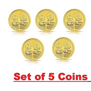 Set of 5 SK1 Golden Metal Laxmi Ganesh Gold Coins
