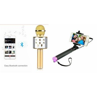 Zemini Q7 Microphone and Selfie Stick for LG g vista (Q7 Mic and Karoke with bluetooth speaker | Selfie Stick )