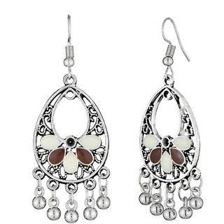 JewelMaze White And Brown Meenakari Rhodium Plated Afghani Earrings