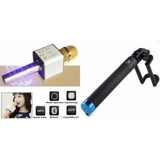 Zemini Q7 Microphone and Selfie Stick for MICROMAX CANVAS DUET AE90(Q7 Mic and Karoke with bluetooth speaker | Selfie Stick )