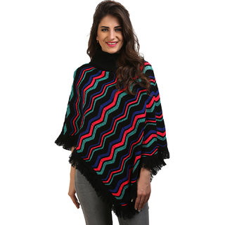 BuyNewTrend Multicolor Woolen Short Poncho Kaftan/Dress For Women