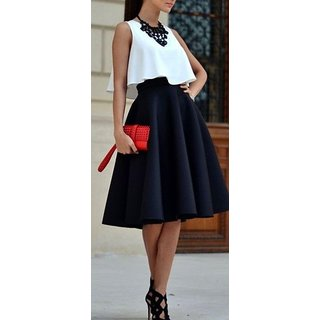 Rimsha Black And White Crop Top And Skirt Combo For Women