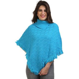 BuyNewTrend Sky Blue Woolen Short Poncho Kaftan/Dress For Women