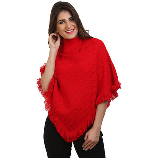 BuyNewTrend Red Woolen Short Poncho Kaftan/Dress For Women