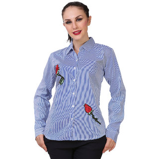 BuyNewTrend Light Blue Full Sleeve Casual Cotton Shirt with Embroidered with Rose For Women
