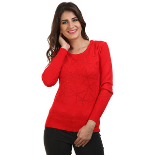 BuyNewTrend Red Woolen Sweater/Pullover For Women
