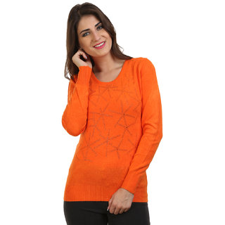 BuyNewTrend Orange Woolen Sweater/Pullover For Women