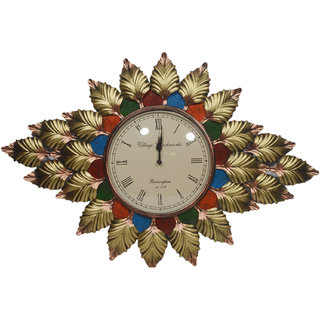 Desert Overseas Multicolor Iron Handmade Decorative Wall Hanging Chinar Leaf Clock