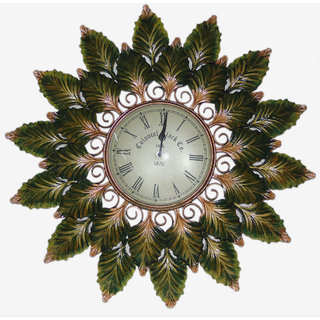 Desert Overseas Multicolor Iron Handmade Decorative Chinar Leaf Wall Clock