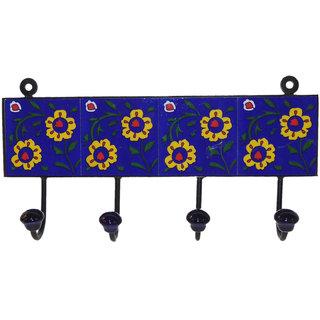 Buy Desert Overseas Multicolor Iron Blue Pottery Tile Decorative