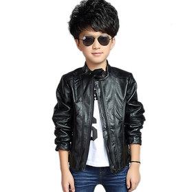 Pari & Prince Boys Black Full Sleeves Leather Jacket