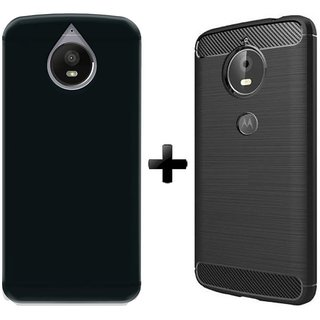 Deltakart Black Matty Back Cover ForMotorola Moto E4 Plus With Armor Back Cover