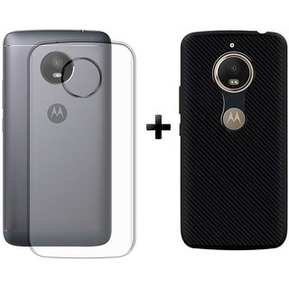 Deltakart Transparent Back Cover For Motorola Moto E4 Plus With Carbon Fiber Black Back Cover