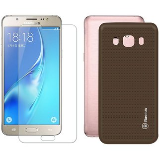 Mobik Tempered Glass for Samsung J7 (2016) With Brown Dotted Back Cover