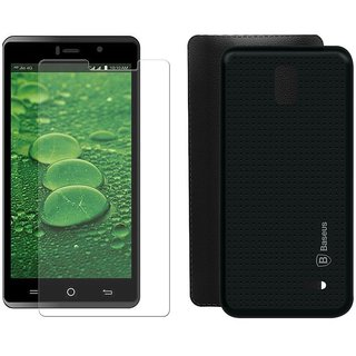 Mobik Tempered Glass for LYF WATER 10 With Black Dotted Back Cover