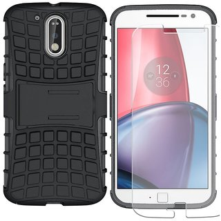 Mobik Hybrid Back Cover for Motorola Moto G4 Plus With Tempered Glass