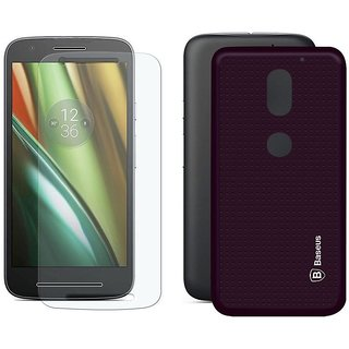 Mobik Tempered Glass for Motorola Moto E3 With Purple Dotted Back Cover
