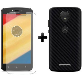 Mobik Tempered Glass for Motorola Moto C Plus With Carbon Fiber Black Back Cover