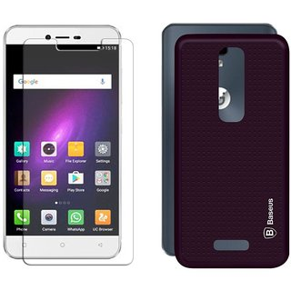 Mobik Tempered Glass for Gionee P7 With Purple Dotted Back Cover