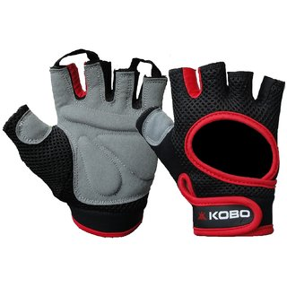 KOBO Fitness Gloves / Weight Lifting Gloves / Gym Gloves (Imported) (Red) (Medium)