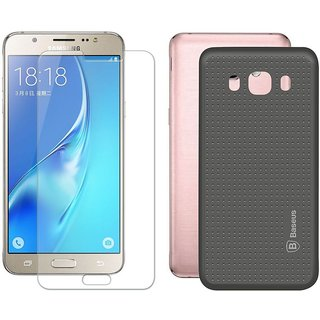 Mobik Grey Dotted Back Cover for Samsung J7 (2016) With Tempered Glass