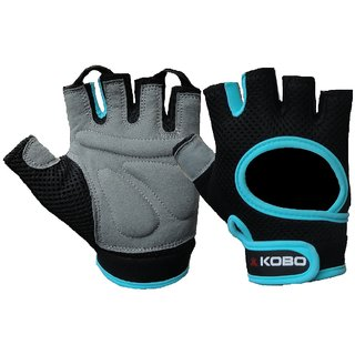 KOBO Fitness Gloves / Weight Lifting Gloves / Gym Gloves (Imported) (Blue) (Small)