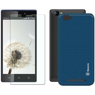 Mobik Blue Dotted Back Cover for LYF Wind 7 With Tempered Glass