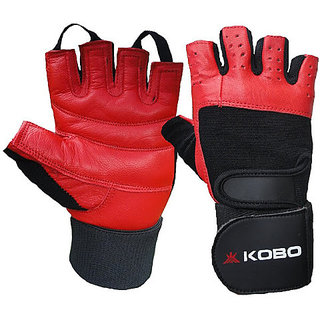 Kobo Leather Fitness Gloves / Weight Lifting Gloves / Gym Gloves (Imported) (Red) (Small)