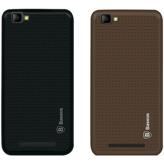 Mobik Black Dotted With Brown Dotted Back Cover for LYF Wind 7 - Soft Silicon
