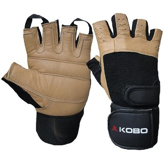 Kobo Leather Fitness Gloves / Weight Lifting Gloves / Gym Gloves (Imported) (Brown)