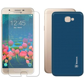 Mobik Blue Dotted Back Cover for Samsung J5 Prime With Tempered Glass