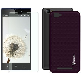 Mobik Purple Dotted Back Cover for LYF Wind 7 With Tempered Glass