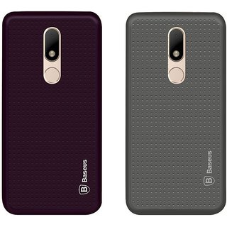 Mobik Purple Dotted With Grey Dotted Back Cover for Motorola Moto M - Soft Silicon