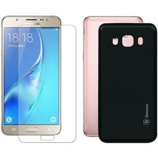 Mobik Black Dotted Back Cover for Samsung J7 (2016) With Tempered Glass