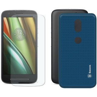 Mobik Blue Dotted Back Cover for Motorola Moto E3 Power  With Tempered Glass