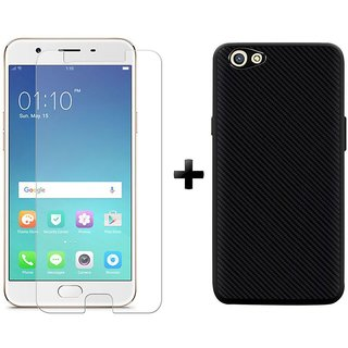 Mobik Tempered Glass Oppo F1s With Carbon Fiber Black Back Cover