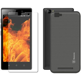 Mobik Grey Dotted Back Cover for LYF Flame 8 With Tempered Glass