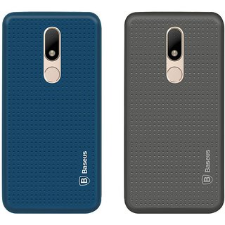 Mobik Blue Dotted With Grey Dotted Back Cover for Motorola Moto M - Soft Silicon