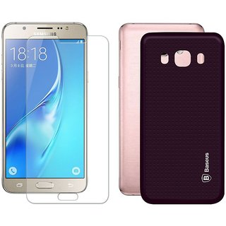 Mobik Purple Dotted Back Cover for Samsung J5 (2016) With Tempered Glass