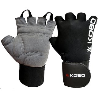 Kobo Weight Lifting Gloves / Fitness Gym Gloves With Wrist Support ( Black) ( Small)