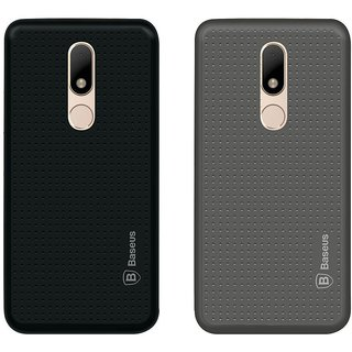 Mobik Black Dotted With Grey Dotted Back Cover for Motorola Moto M - Soft Silicon