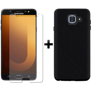 Mobik Tempered Glass for Samsung Galaxy J7 Max With Carbon Fiber Black Back Cover