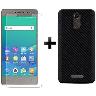 Mobik Tempered Glass Gionee S6s With Carbon Fiber Black Back Cover